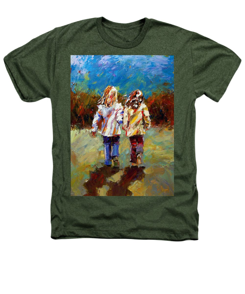 Girls Heathers T-Shirt featuring the painting Friends Forever by Debra Hurd