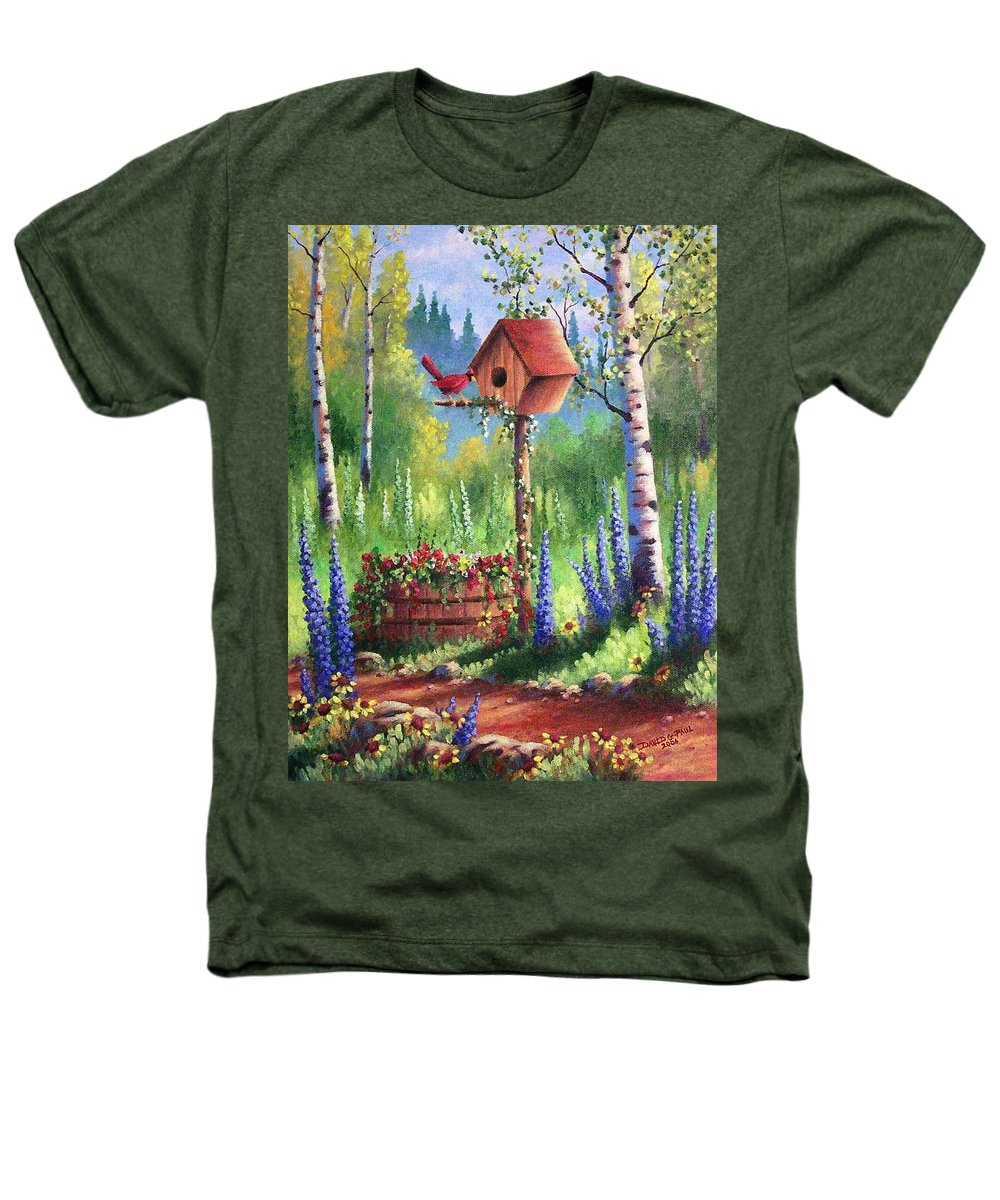 Bird Heathers T-Shirt featuring the painting Garden Birdhouse by David G Paul