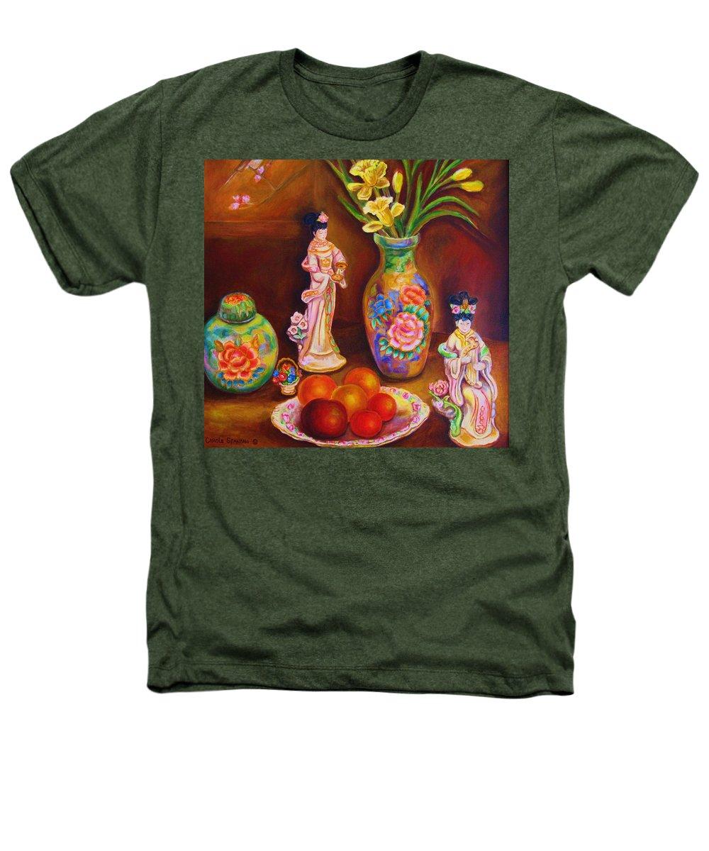 Geishas Heathers T-Shirt featuring the painting Geisha Dolls by Carole Spandau
