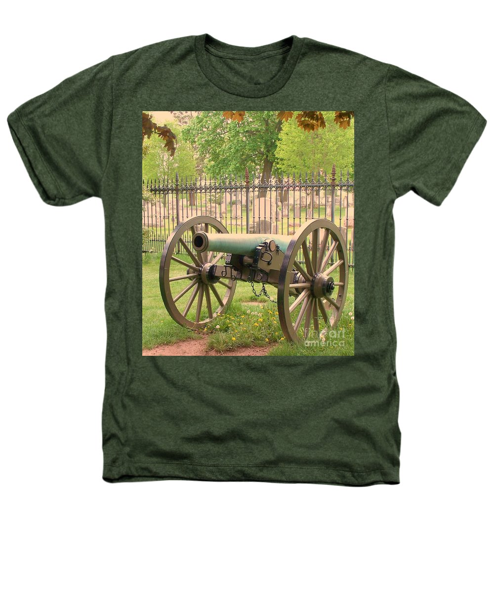 Gettysburgs Heathers T-Shirt featuring the painting Gettysburg Cannon Cemetery Hill by Eric Schiabor