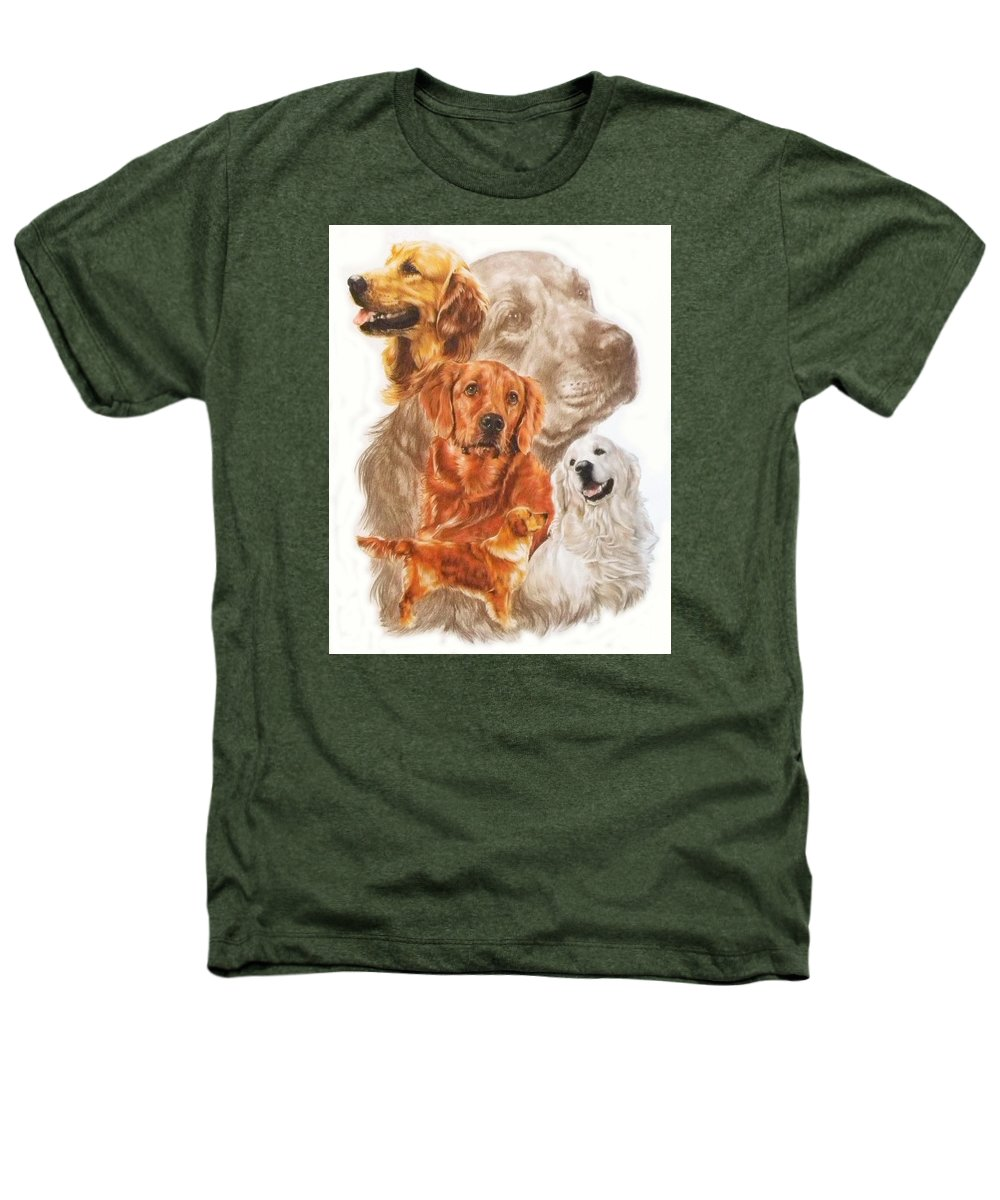 Dog Heathers T-Shirt featuring the mixed media Golden Retriever W/ghost by Barbara Keith
