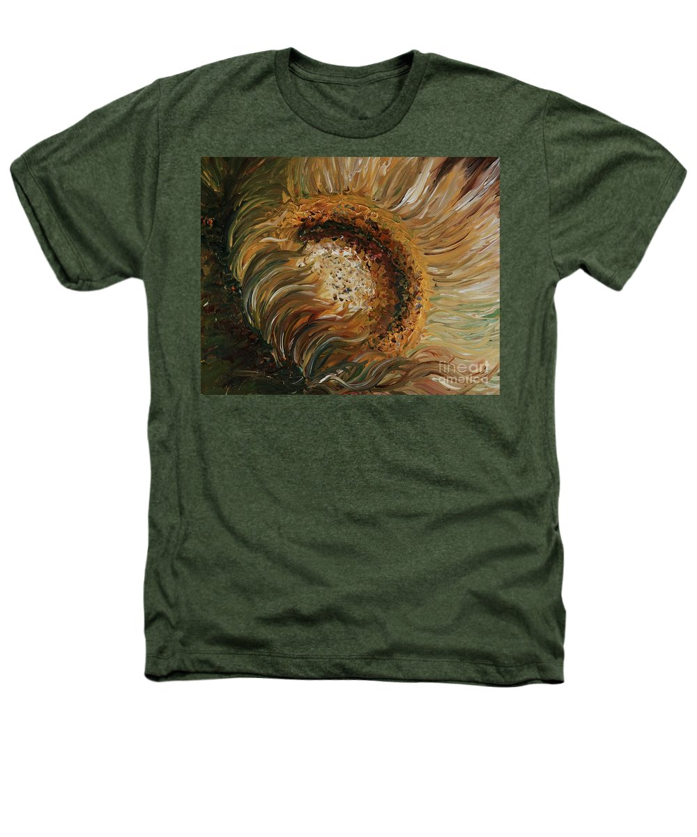Sunflower Heathers T-Shirt featuring the painting Golden Sunflower by Nadine Rippelmeyer