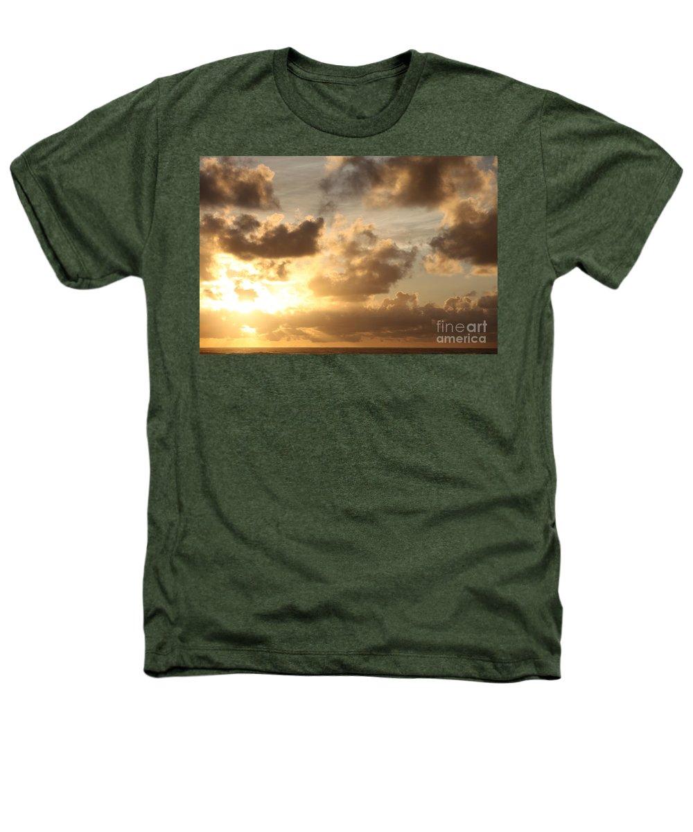 Sunrise Heathers T-Shirt featuring the photograph Golden Sunrise On Kauai by Nadine Rippelmeyer