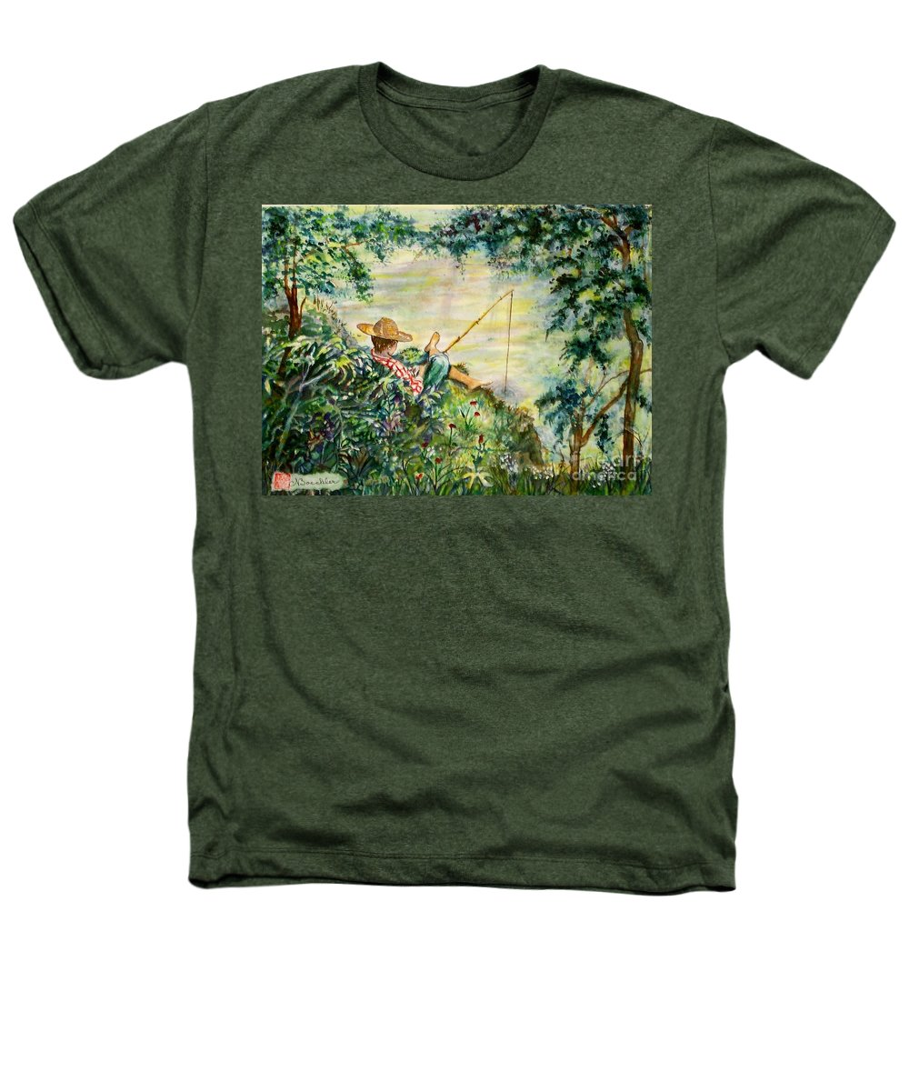 Landscape Heathers T-Shirt featuring the painting Good Fishing by Norma Boeckler