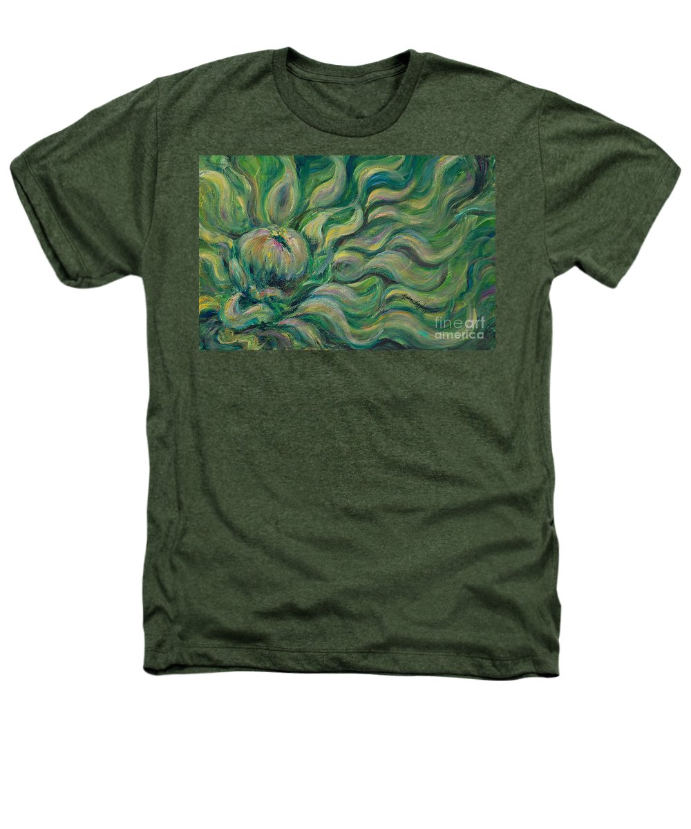 Green Heathers T-Shirt featuring the painting Green Flowing Flower by Nadine Rippelmeyer