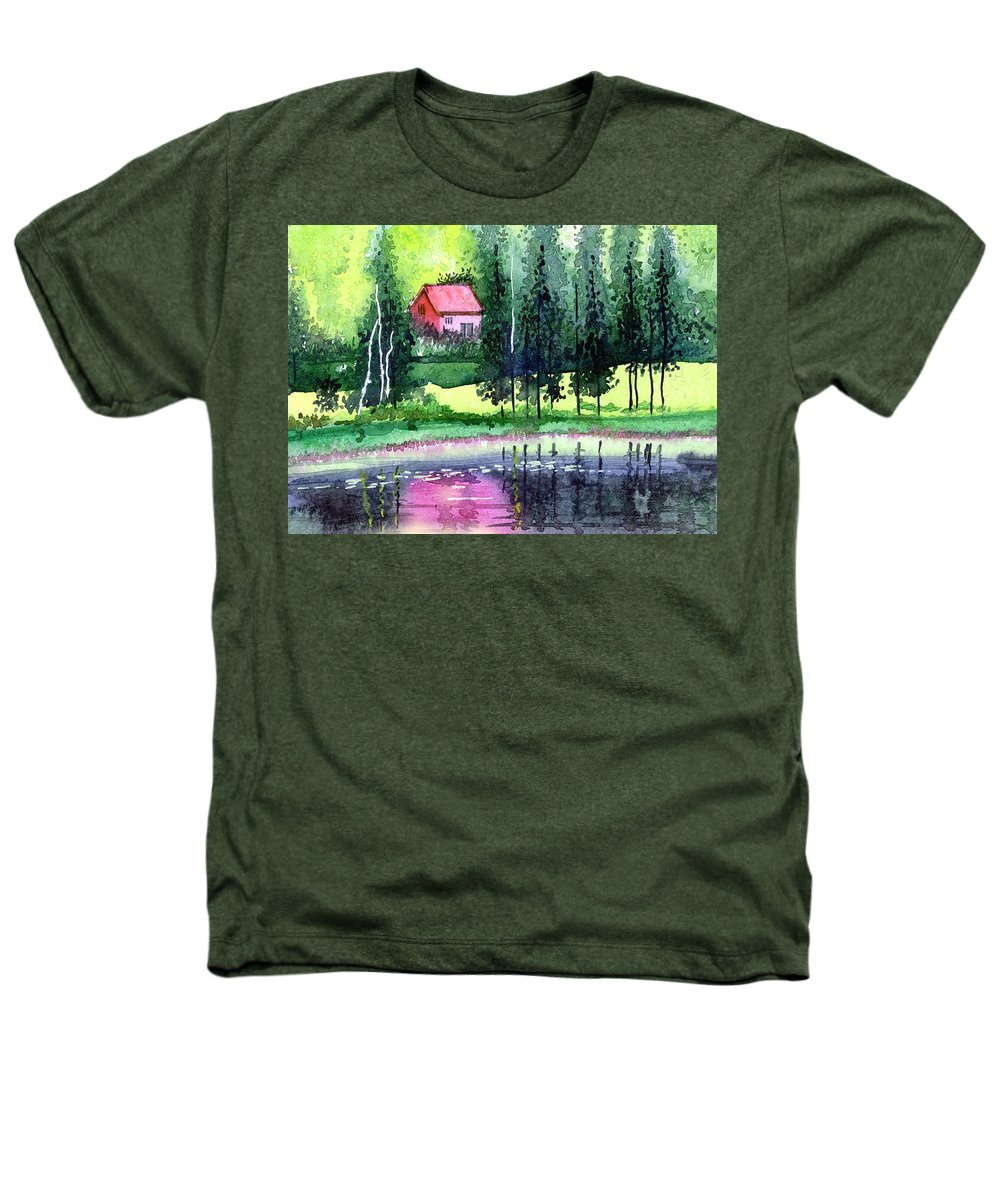 Landscape Heathers T-Shirt featuring the painting Guest House by Anil Nene