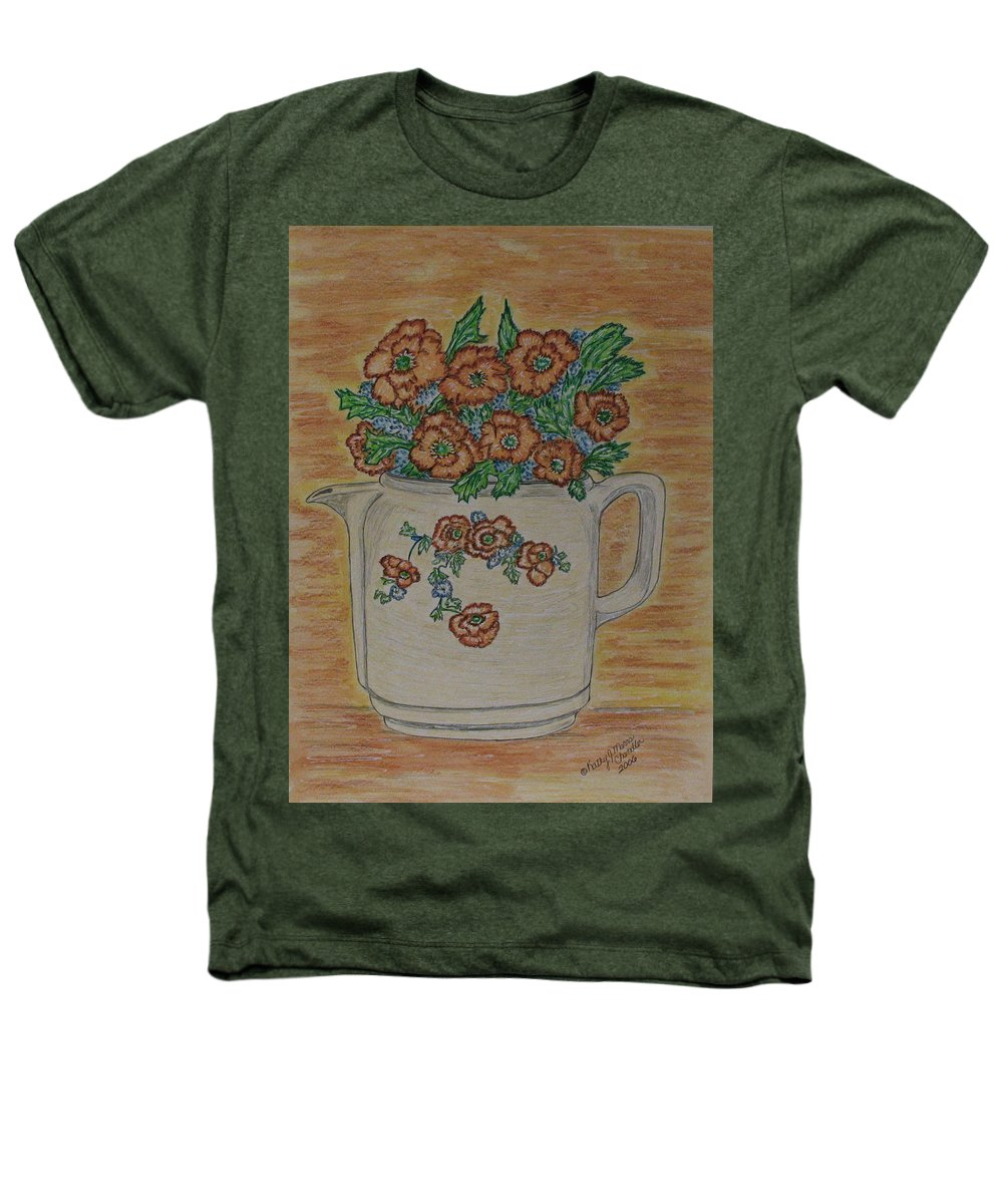 Hall China Heathers T-Shirt featuring the painting Hall China Orange Poppy And Poppies by Kathy Marrs Chandler