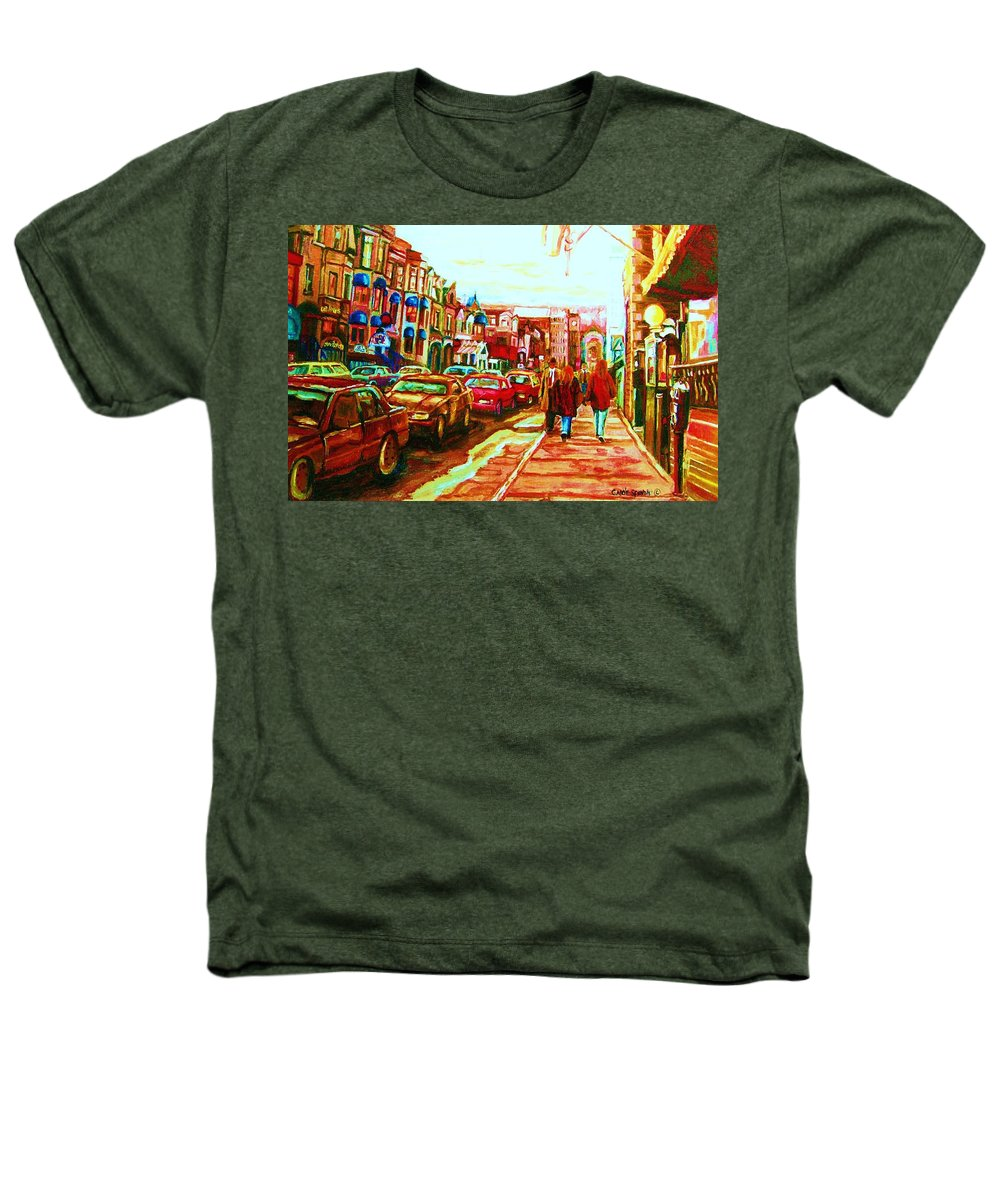 Montreal Streetscenes Heathers T-Shirt featuring the painting Hard Rock On Crescent by Carole Spandau