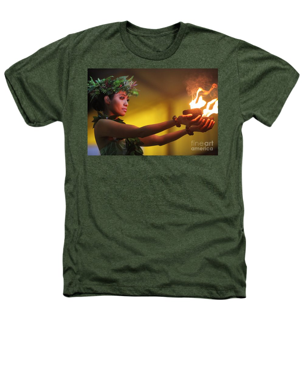 Fire Heathers T-Shirt featuring the photograph Hawaiian Dancer And Firepots by Nadine Rippelmeyer
