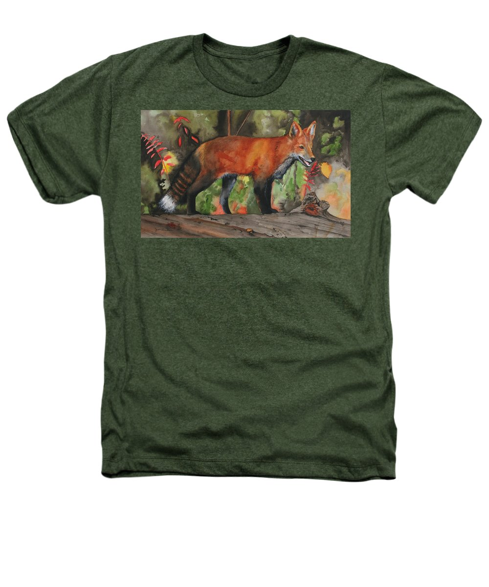 Fox Heathers T-Shirt featuring the painting Hiding In Plain Sight by Jean Blackmer
