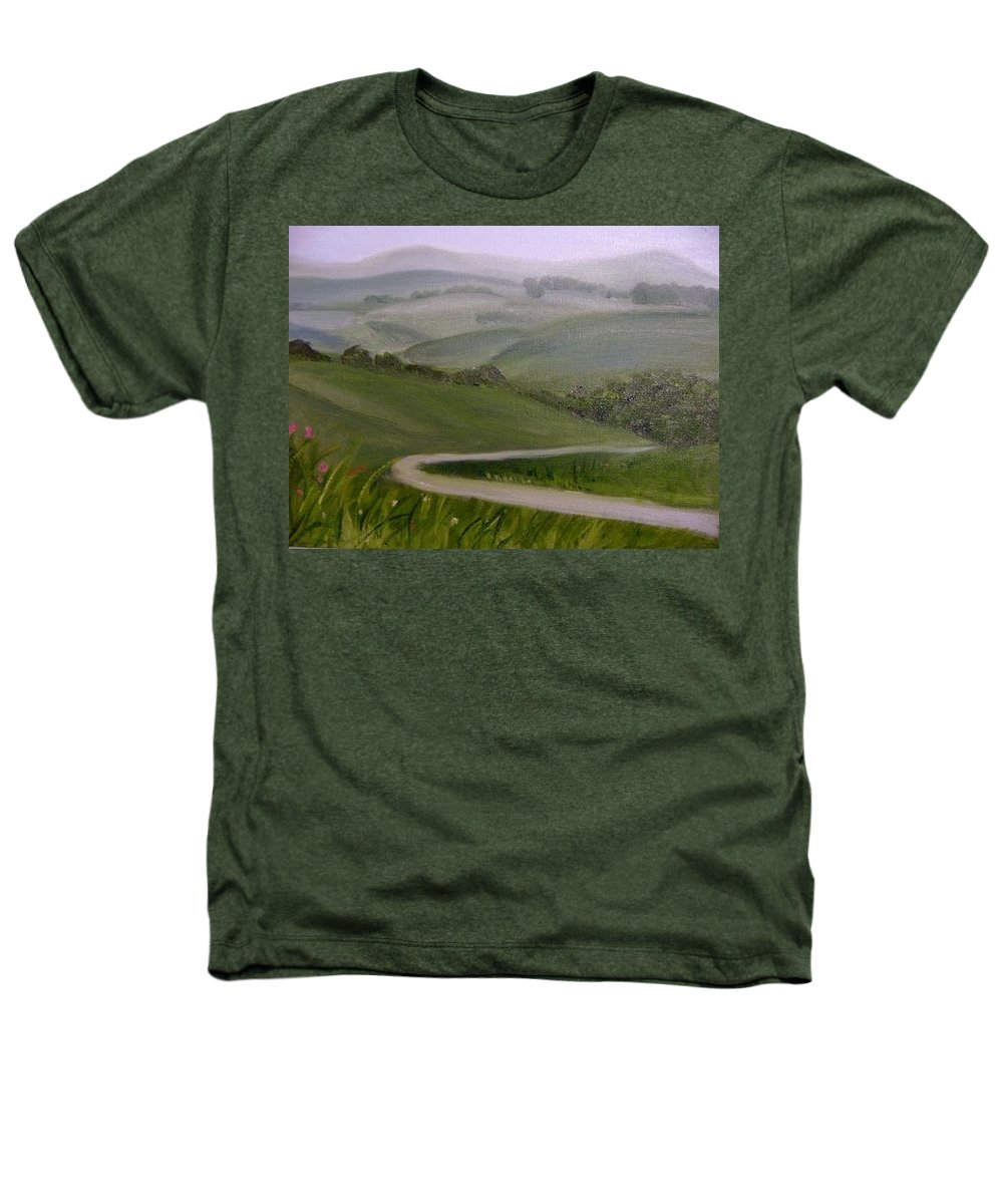 Pathway Heathers T-Shirt featuring the painting Highway Into The Hills by Toni Berry