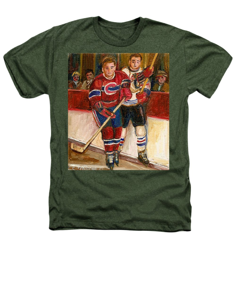Hockey Heathers T-Shirt featuring the painting Hockey Stars At The Forum by Carole Spandau