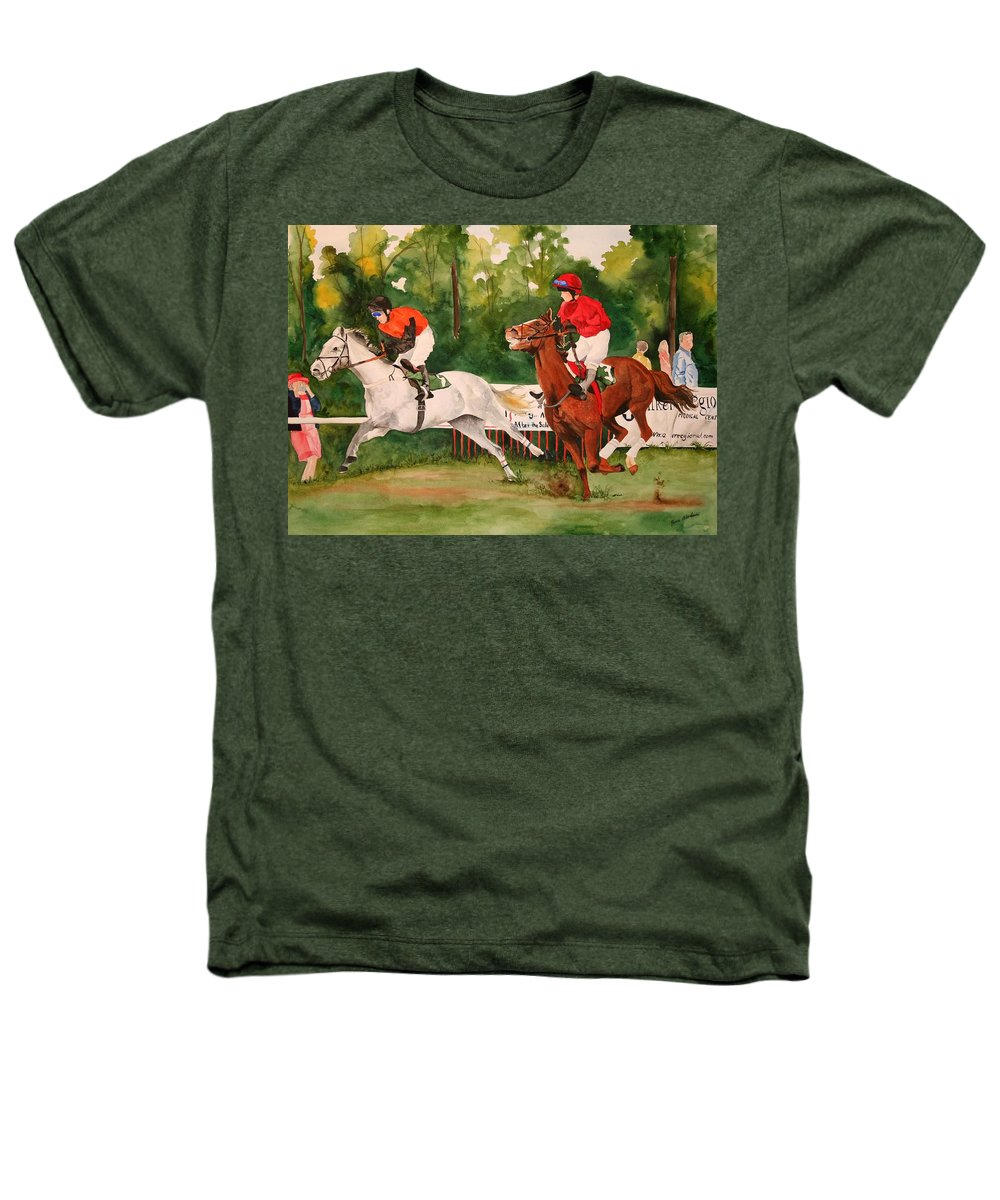 Racing Heathers T-Shirt featuring the painting Homestretch by Jean Blackmer