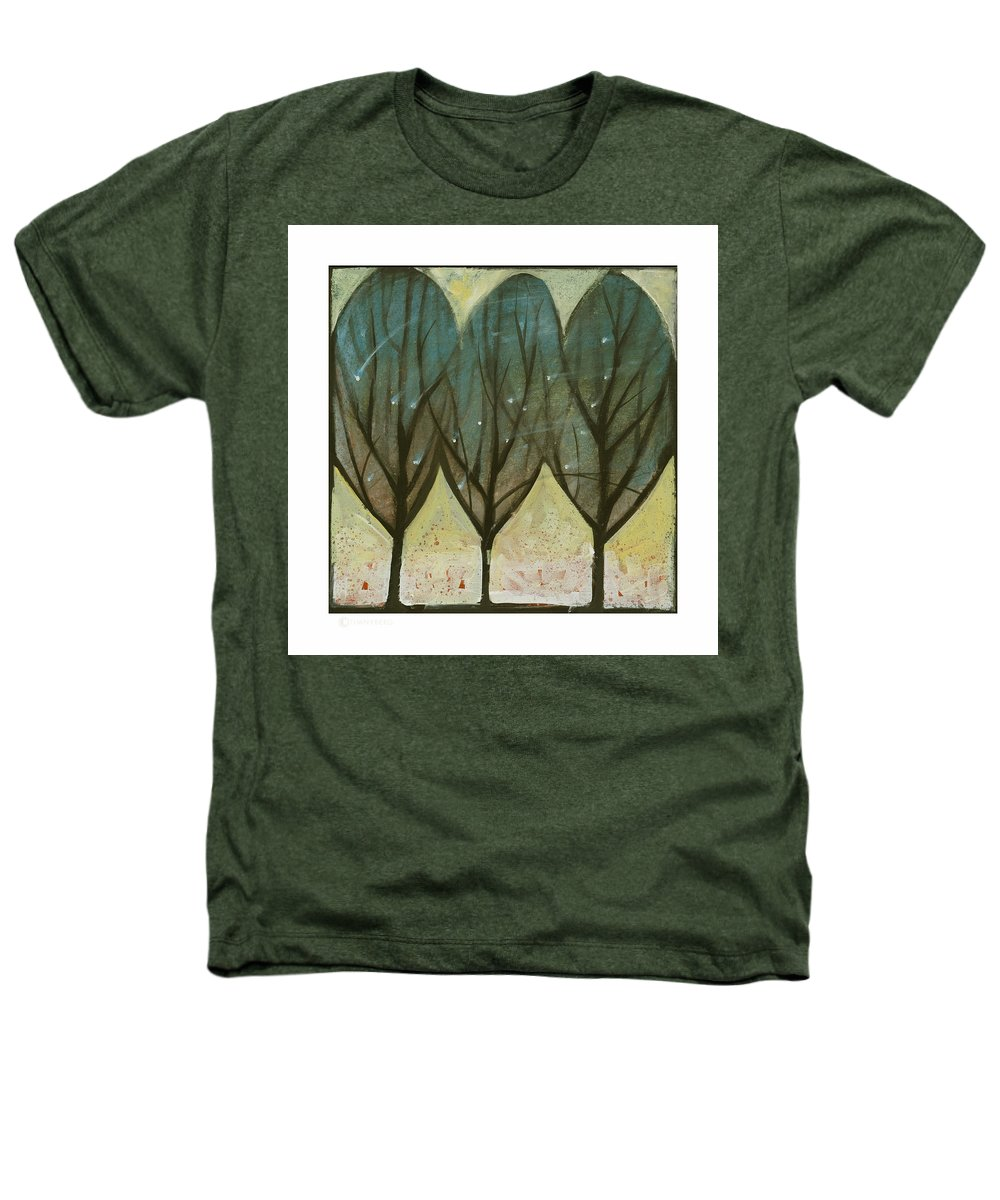 Trees Heathers T-Shirt featuring the painting Indian Summer Snow by Tim Nyberg