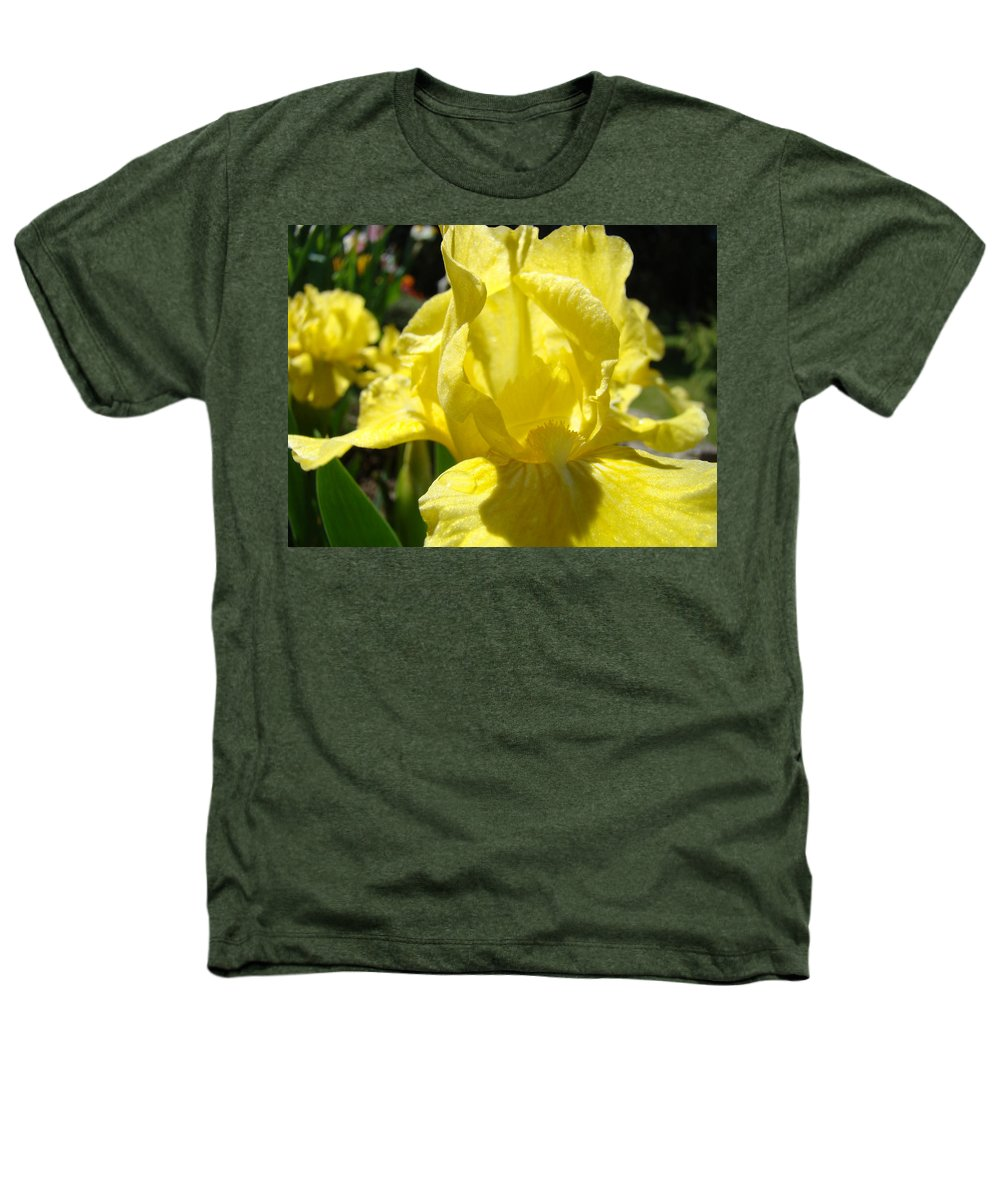�irises Artwork� Heathers T-Shirt featuring the photograph Irises Yellow Iris Flowers Floral Art Prints Botanical Garden Artwork Giclee by Baslee Troutman