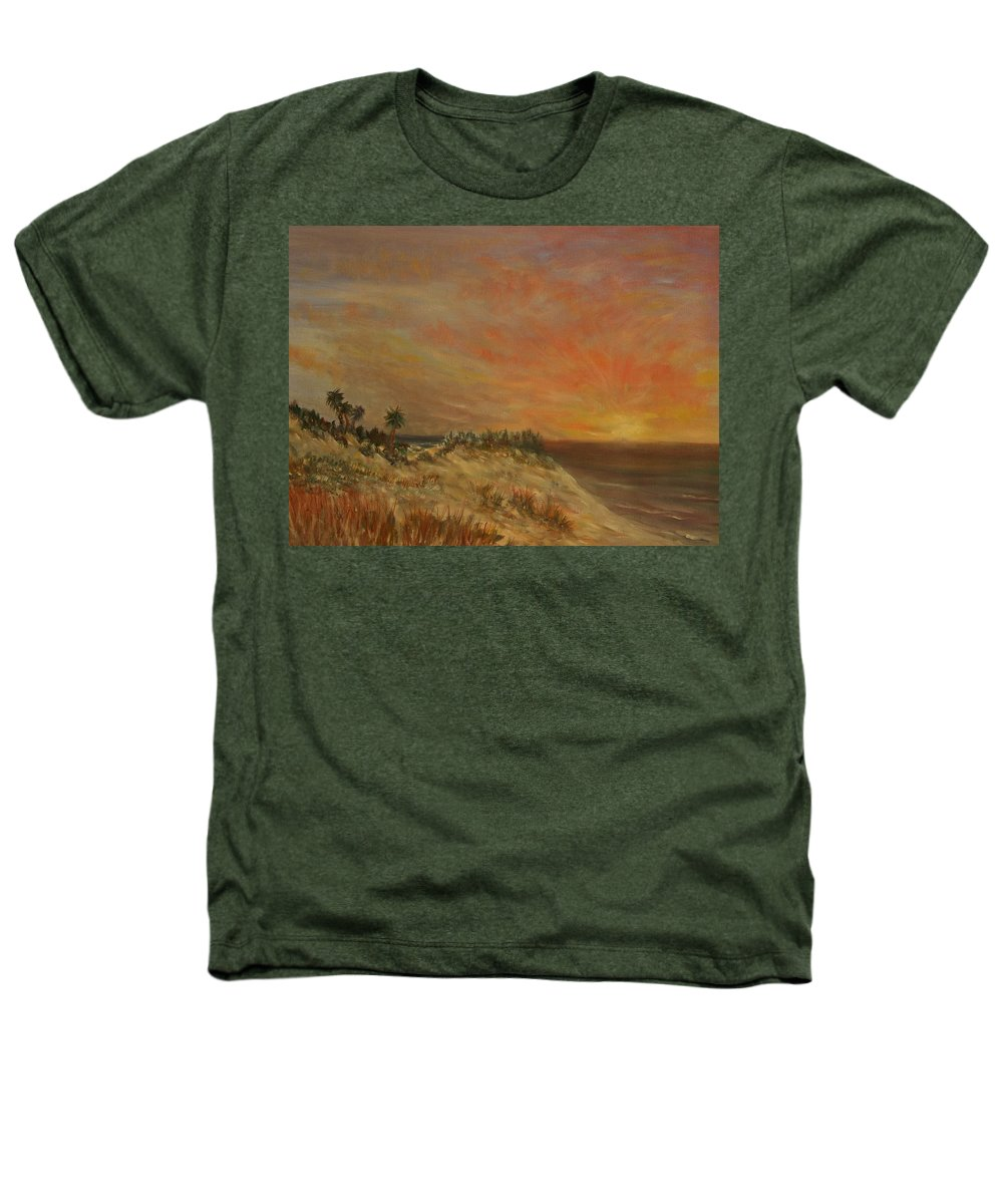 Sunset;beach;ocean;palm Trees Heathers T-Shirt featuring the painting Island Sunset by Ben Kiger