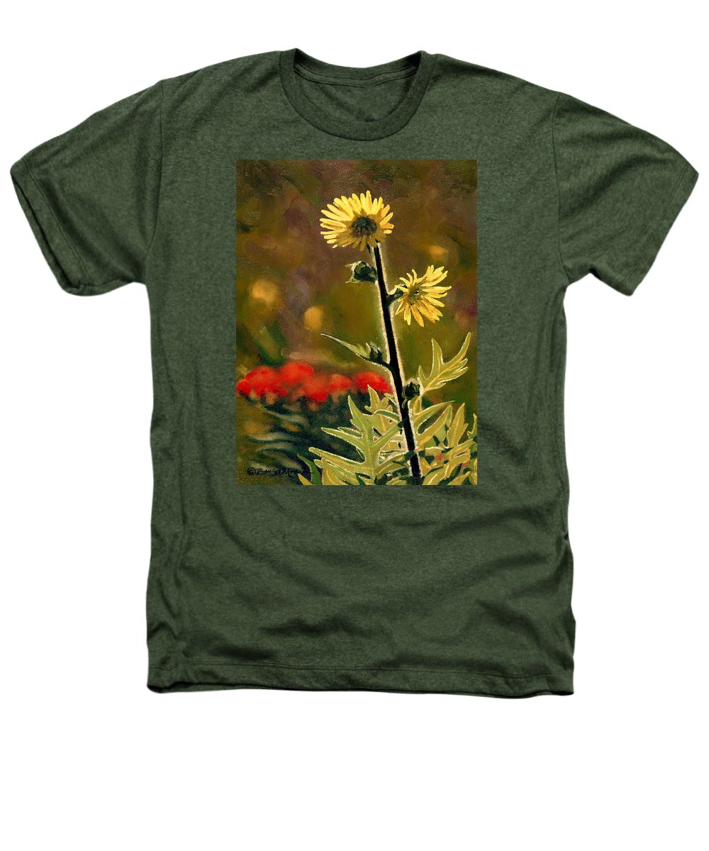 Prairie Flowers Heathers T-Shirt featuring the painting July Afternoon-compass Plant by Bruce Morrison