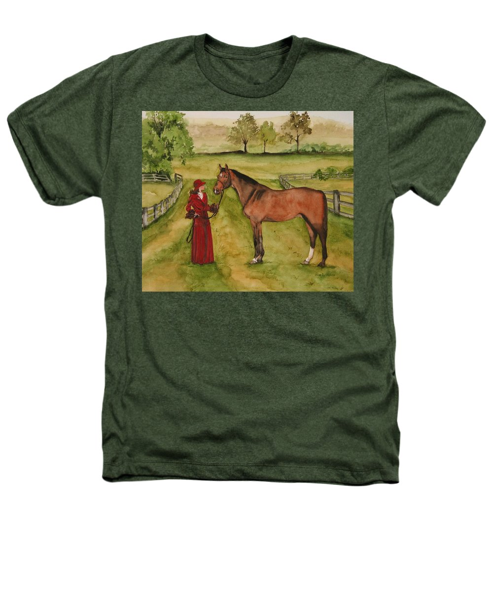 Horse Heathers T-Shirt featuring the painting Lady And Horse by Jean Blackmer