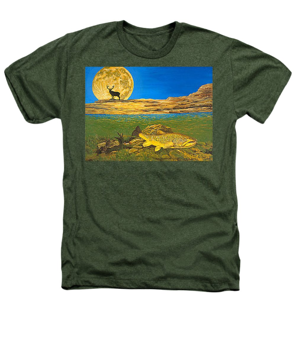 Artwork Heathers T-Shirt featuring the painting Landscape Art Fish Art Brown Trout Timing Bull Elk Full Moon Nature Contemporary Modern Decor by Baslee Troutman