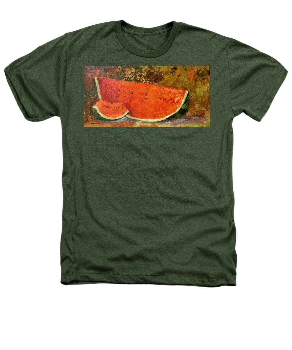 Watermelon Heathers T-Shirt featuring the painting Last Of Summer by Ginger Concepcion