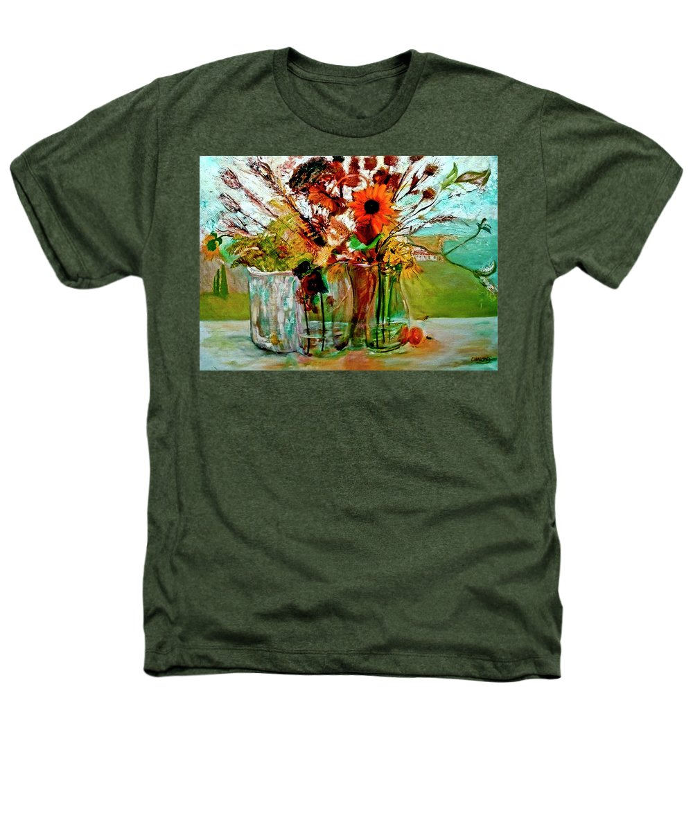 Flowers Jar Glass Thistle Picnic Green Lemon Rose Heathers T-Shirt featuring the painting Late Summer by Jack Diamond