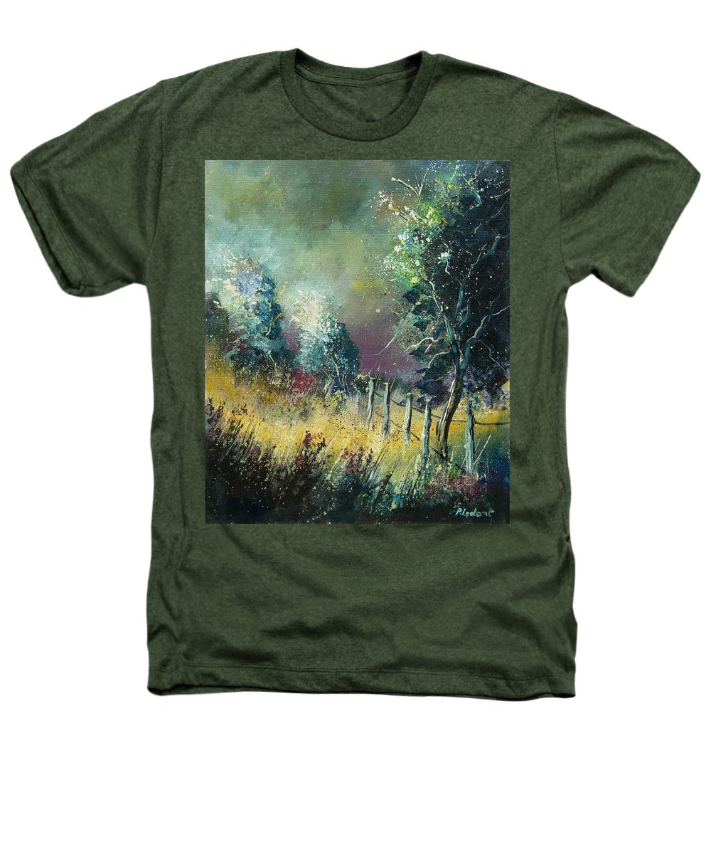 Landscape Heathers T-Shirt featuring the painting Light On Trees by Pol Ledent