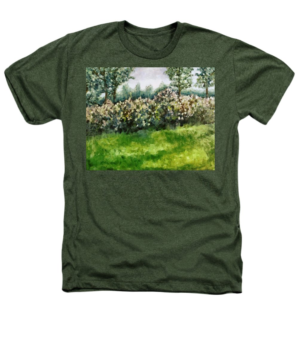 Spring Heathers T-Shirt featuring the painting Lilac Bushes In Springtime by Michelle Calkins
