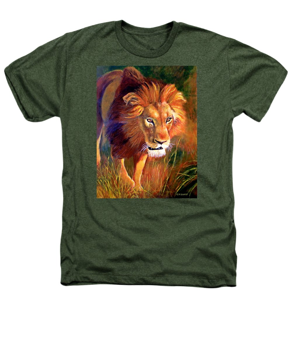 Lion Heathers T-Shirt featuring the painting Lion At Sunset by Michael Durst