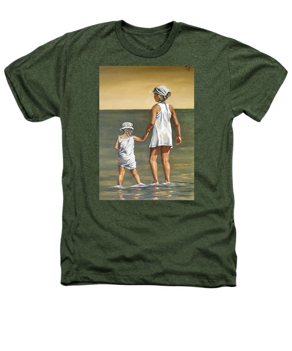 Little Girl Reflection Girls Kids Figurative Water Sea Seascape Children Portrait Heathers T-Shirt featuring the painting Little Sisters by Natalia Tejera