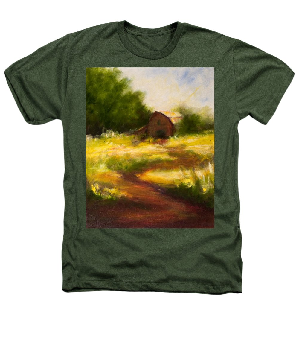 Landscape Heathers T-Shirt featuring the painting Long Road Home by Shannon Grissom