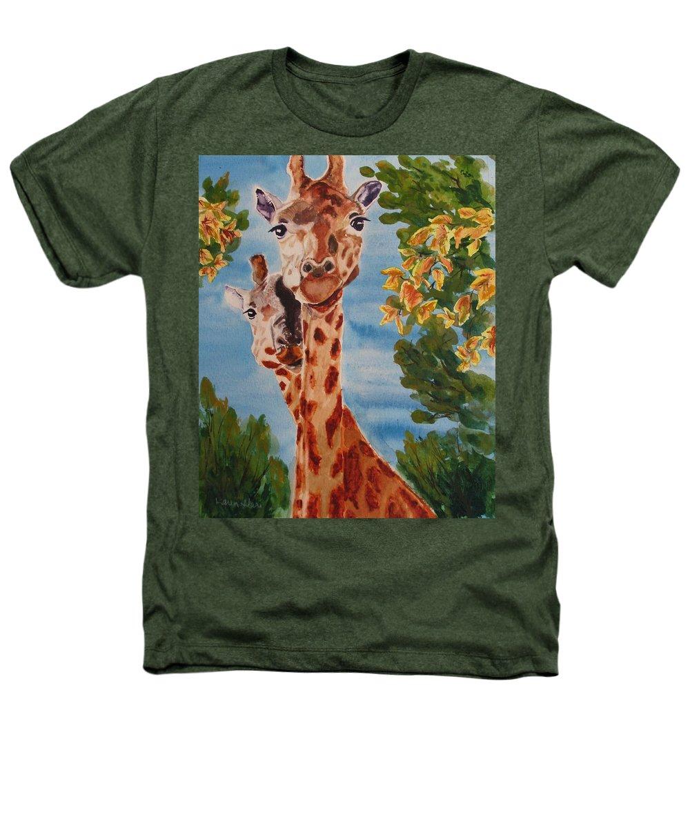 Giraffes Heathers T-Shirt featuring the painting Lookin Back by Karen Ilari