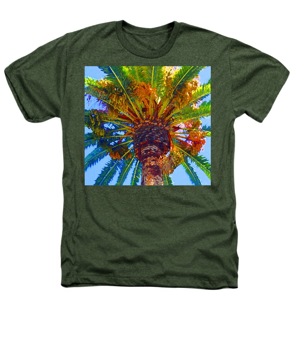 Garden Heathers T-Shirt featuring the painting Looking Up At Palm Tree by Amy Vangsgard