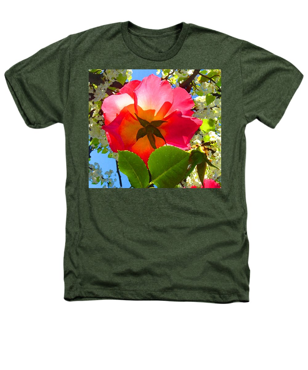 Roses Heathers T-Shirt featuring the photograph Looking Up At Rose And Tree by Amy Vangsgard