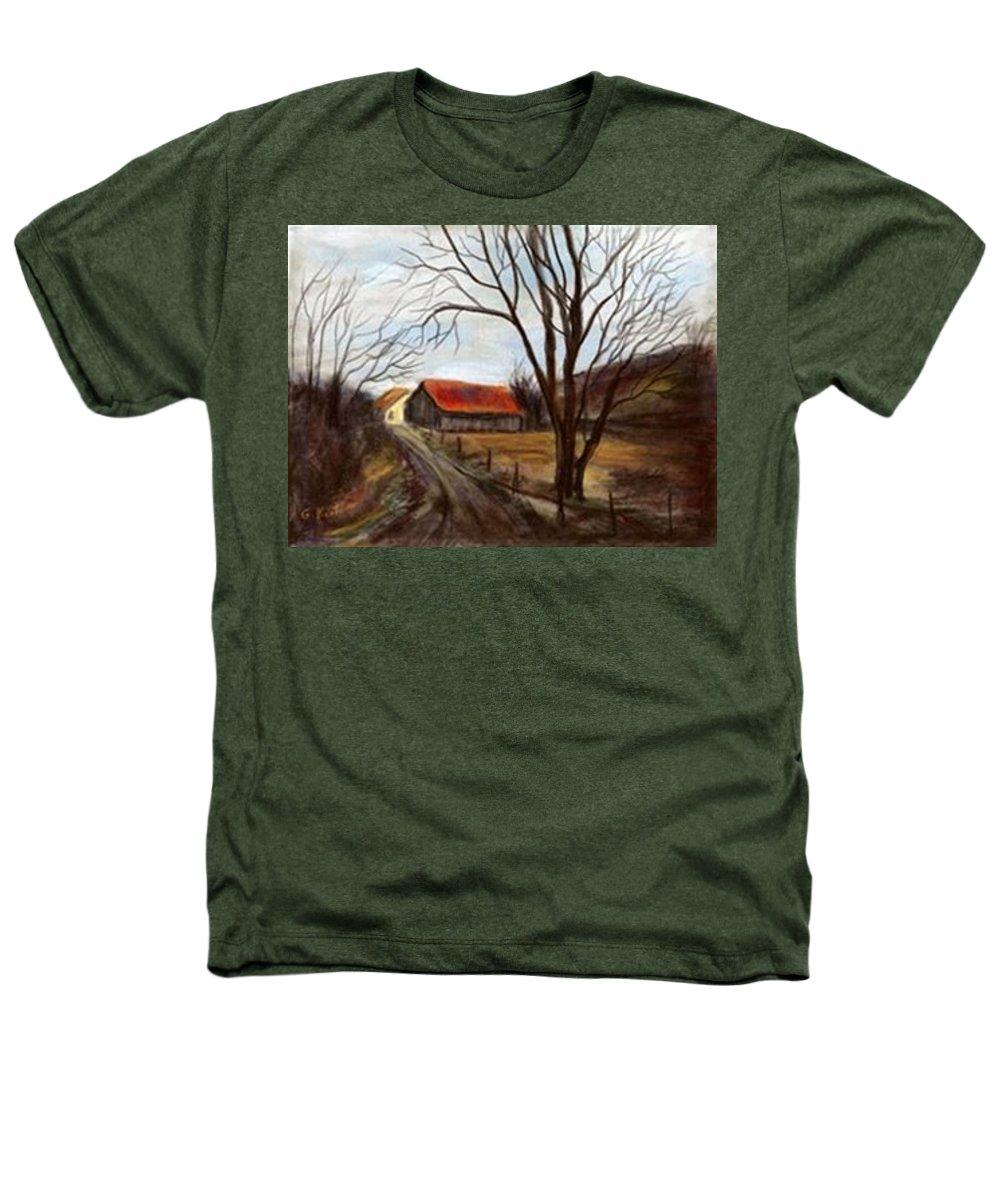 Barn Heathers T-Shirt featuring the painting Louisa Kentucky Barn by Gail Kirtz