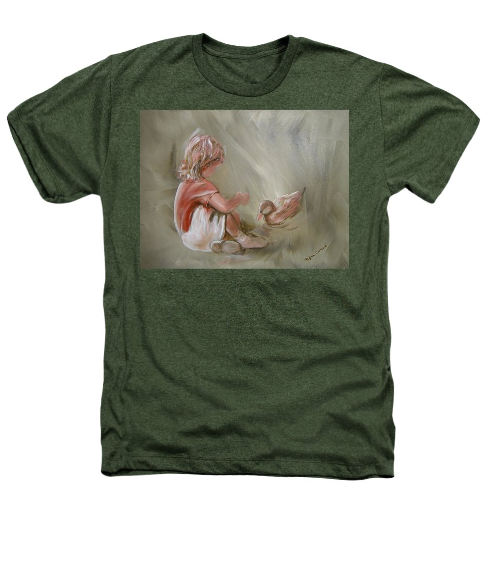 Girl Heathers T-Shirt featuring the painting Lunch Pals by Regina Walsh