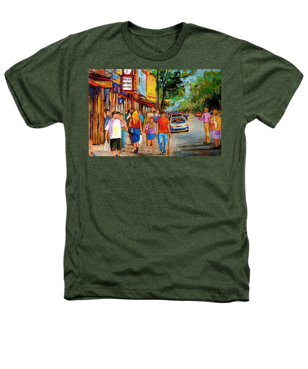 Montreal Streetscenes Heathers T-Shirt featuring the painting Lunchtime On Mainstreet by Carole Spandau
