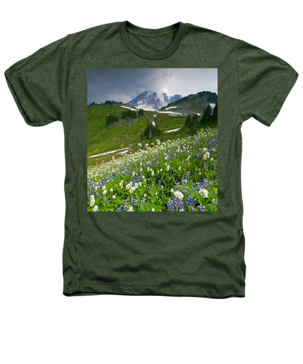 Rainier Heathers T-Shirt featuring the photograph Lupine Storm by Mike Dawson