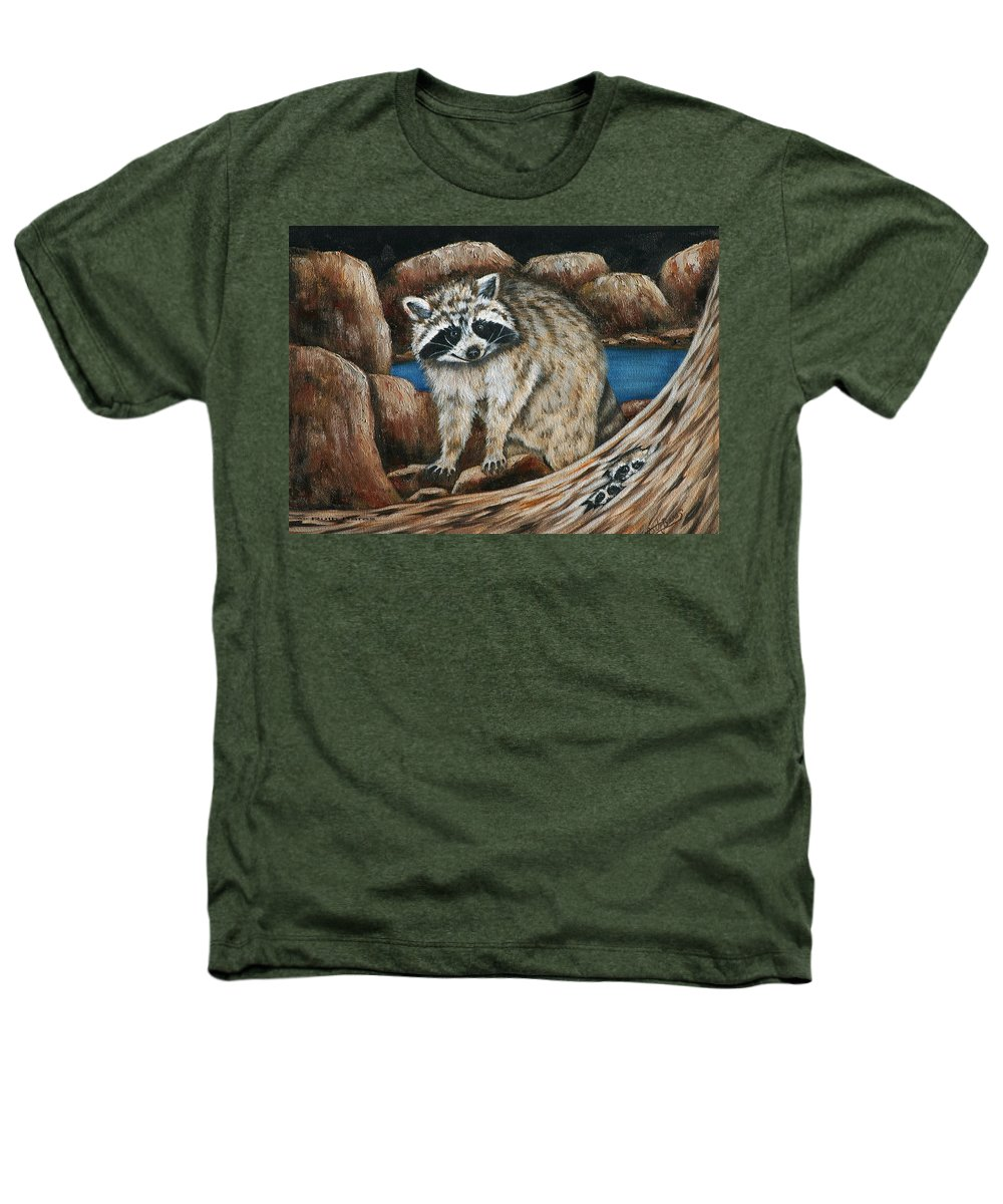 Racoon Heathers T-Shirt featuring the painting Mama Racoon by Ruth Bares