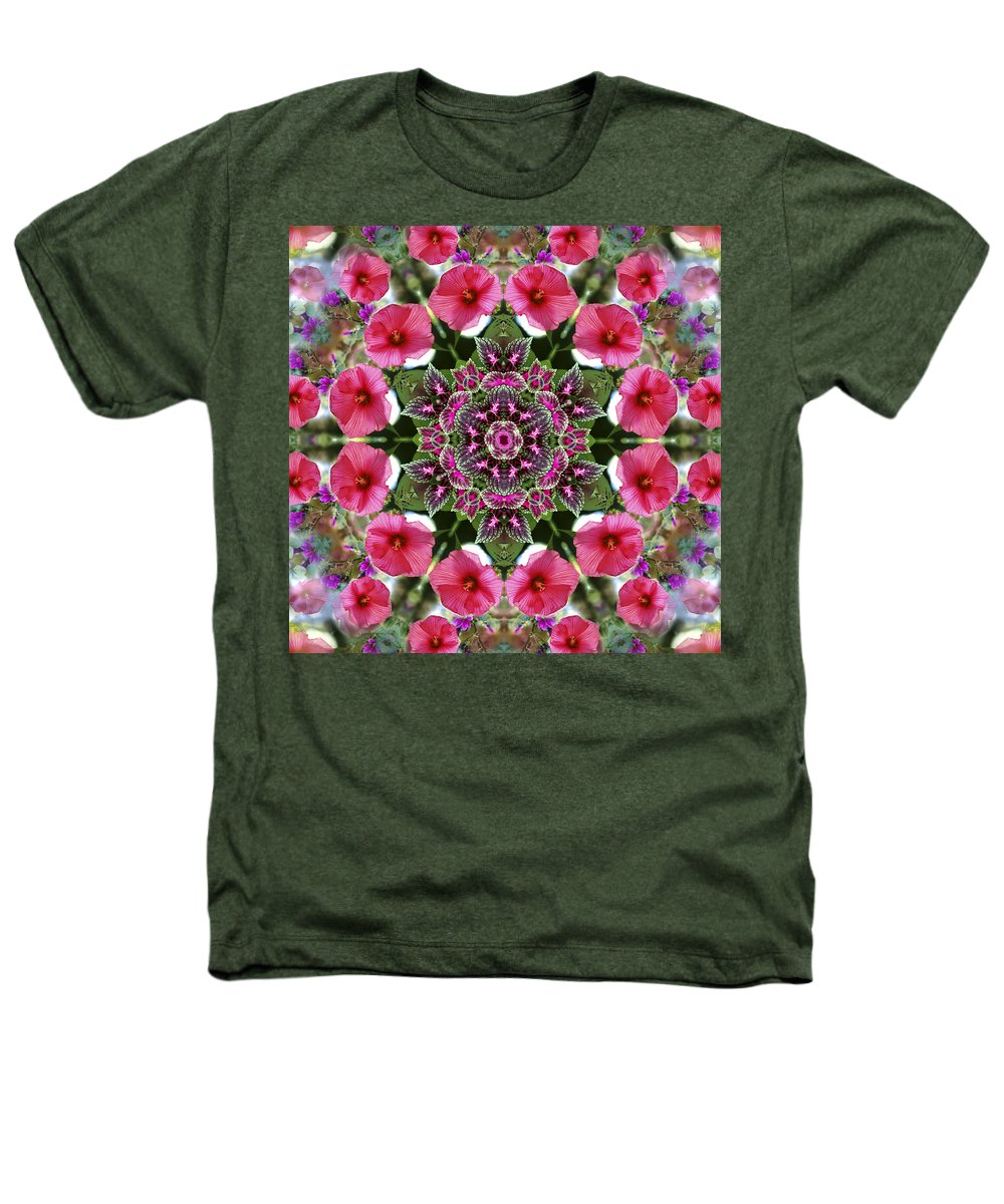Mandala Heathers T-Shirt featuring the digital art Mandala Pink Patron by Nancy Griswold