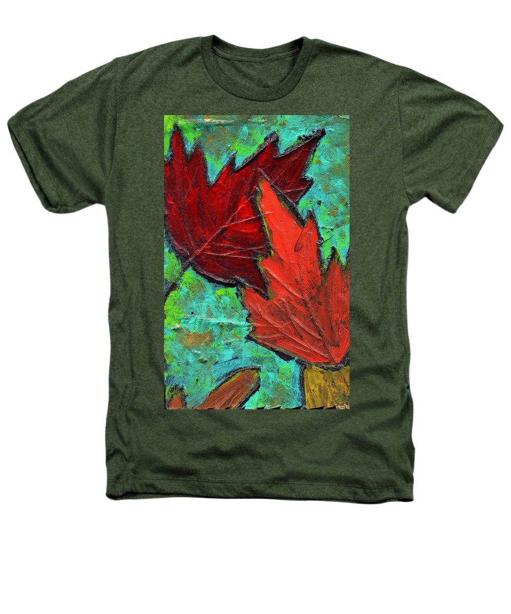 Maple Heathers T-Shirt featuring the painting Maple Leaves by Wayne Potrafka
