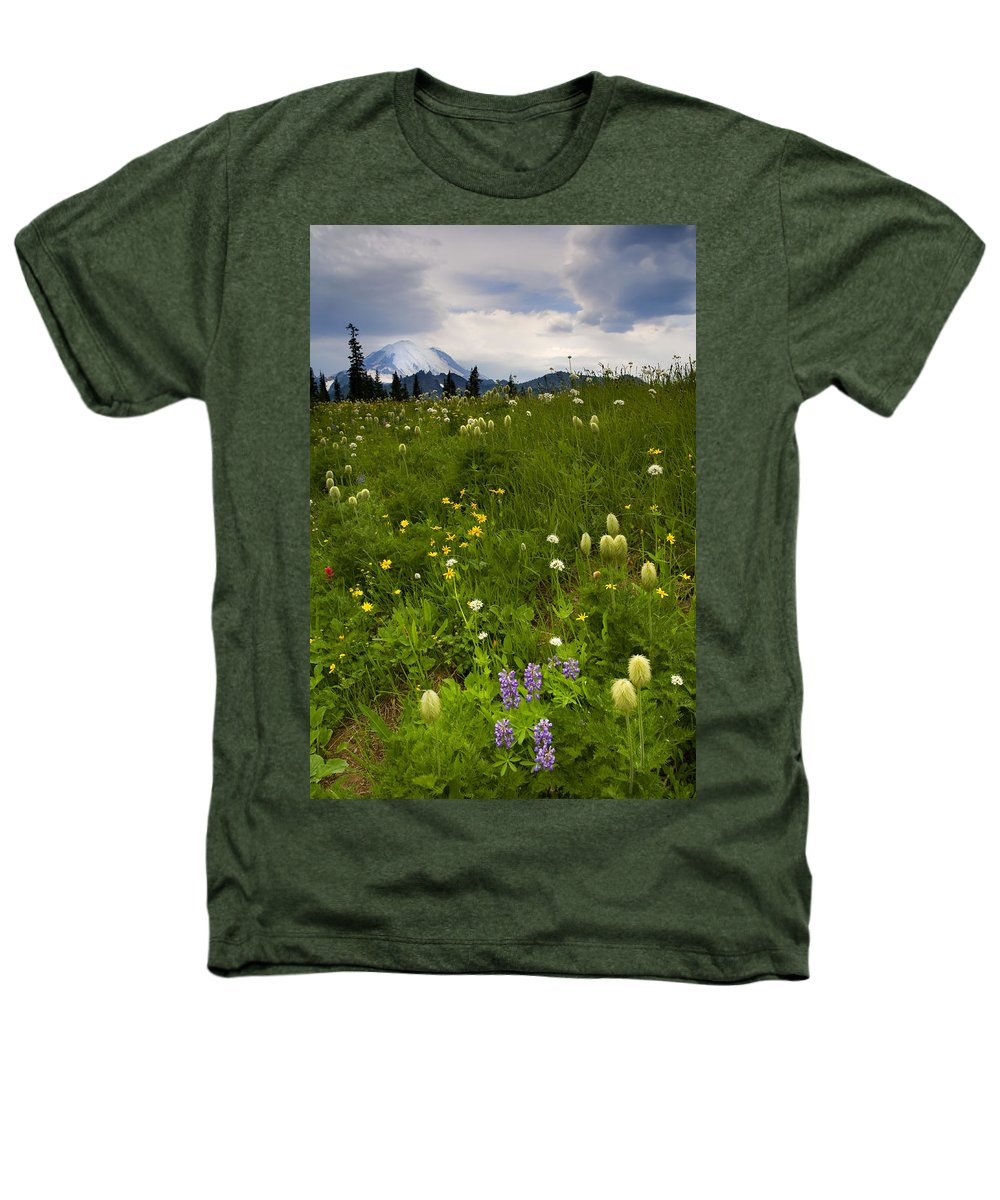 Rainier Heathers T-Shirt featuring the photograph Meadow Beneath The Storm by Mike Dawson
