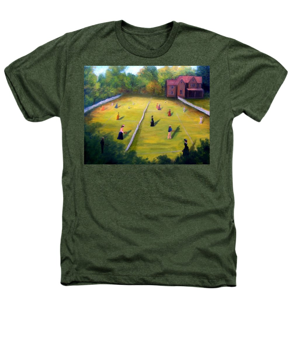Tennis Art Heathers T-Shirt featuring the painting Mixed Doubles by Gail Kirtz