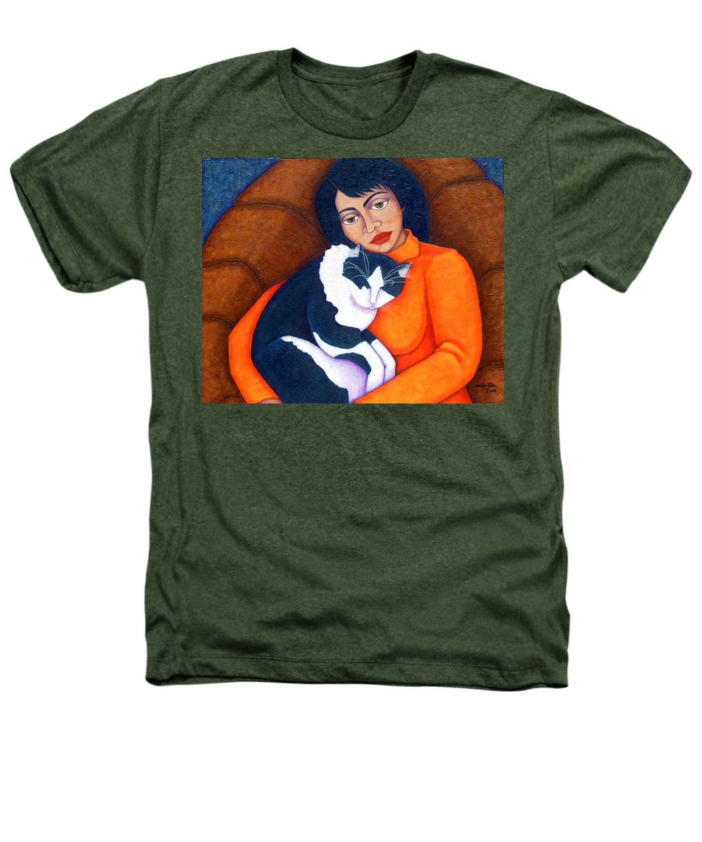 Woman Heathers T-Shirt featuring the painting Morgana With Woman by Madalena Lobao-Tello