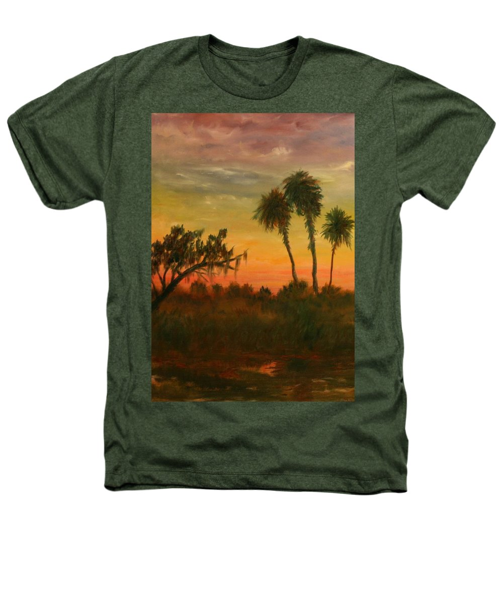 Palm Trees; Tropical; Marsh; Sunrise Heathers T-Shirt featuring the painting Morning Fog by Ben Kiger