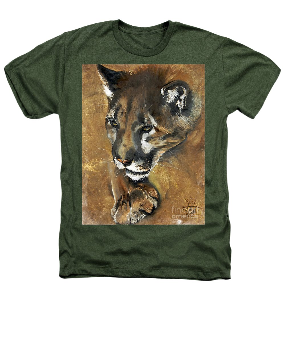 Southwest Art Heathers T-Shirt featuring the painting Mountain Lion - Guardian Of The North by J W Baker