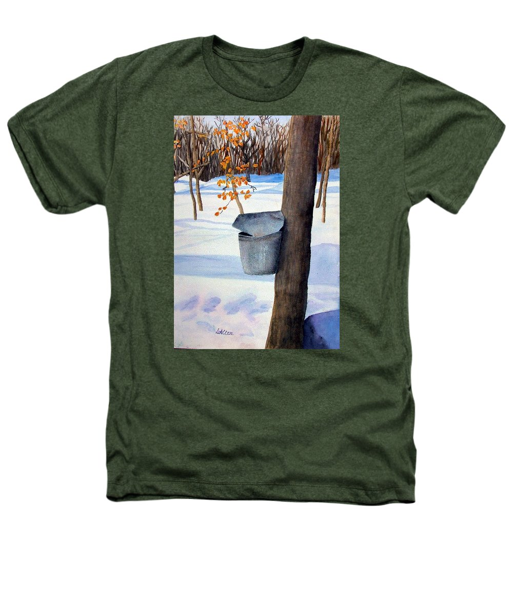 Sap Bucket. Maple Sugaring Heathers T-Shirt featuring the painting Nh Goldmine by Sharon E Allen