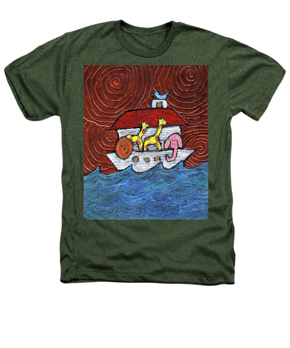Noah Heathers T-Shirt featuring the painting Noahs Ark With Blue Bird by Wayne Potrafka