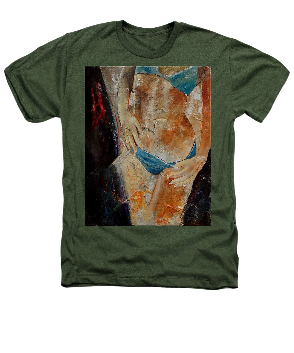 Girl Nude Heathers T-Shirt featuring the painting Nude 450608 by Pol Ledent