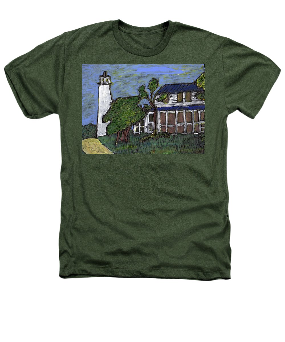 Light House Heathers T-Shirt featuring the painting Ocracoke Island Light House by Wayne Potrafka
