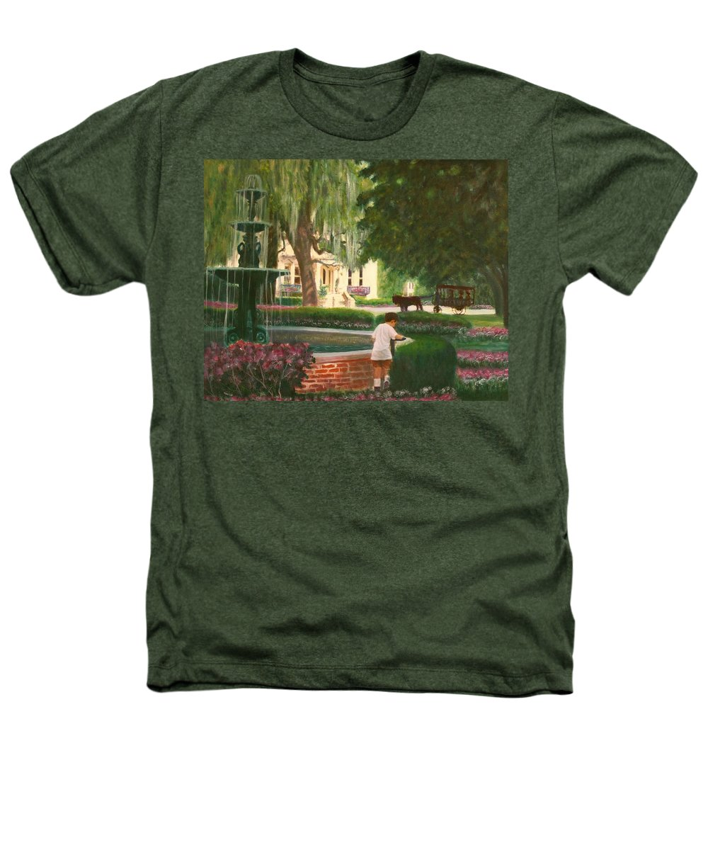 Savannah; Fountain; Child; House Heathers T-Shirt featuring the painting Old And Young Of Savannah by Ben Kiger